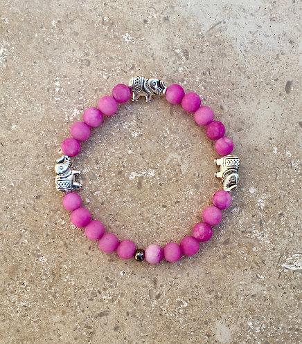 Elephant Charm Bracelet with dyed Jade