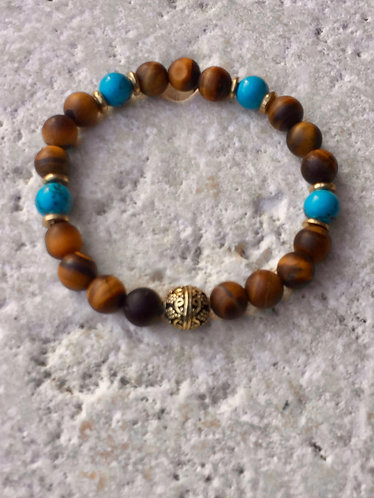 Matte Tigers Eye, Howlite and brass accents