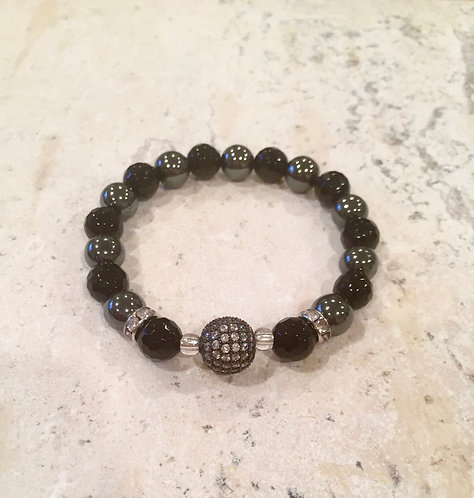 Onyx and Hematite with Pave Ball bracelet