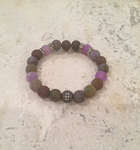 Jasper with Pave Ball and spacers bracelet