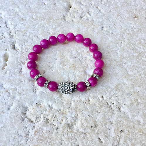 Pink Jade with crystal ball and spacers