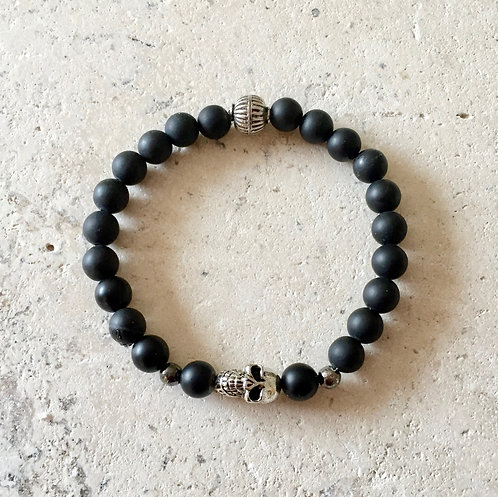 Onyx and Skull Stretch Bracelet