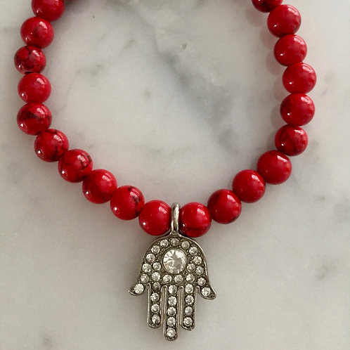 Dyed Jade with Pave Hamza