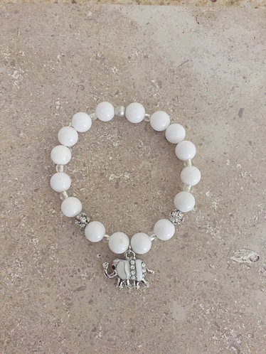 Elephant Charm Bracelet with dyed Jade and Pave balls