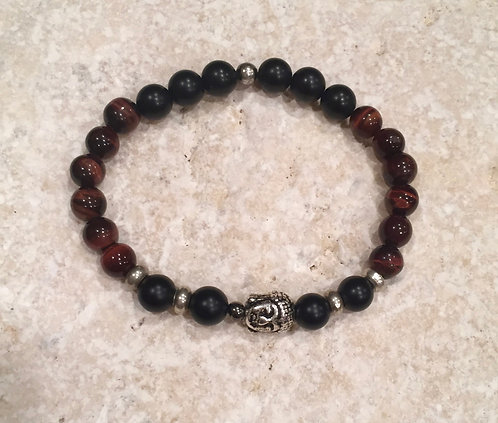 Red Tigers Eye Bracelet with Brass Spacers and Buddha