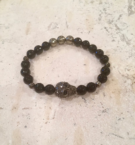 Faceted Onyx, Pyrite and pave Skull bracelet