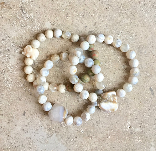 Agate & Riverstone with Elephant, Shell &  Quartz charms - set of 3