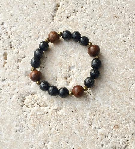 Wood and Brass Bracelet