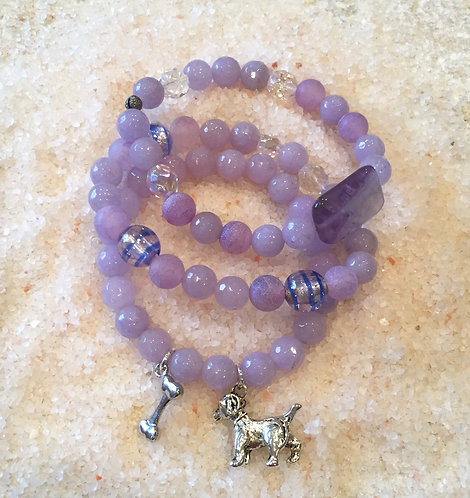 Dyed Jade Bracelet Trio with Crystals and Dog & Bone Charms