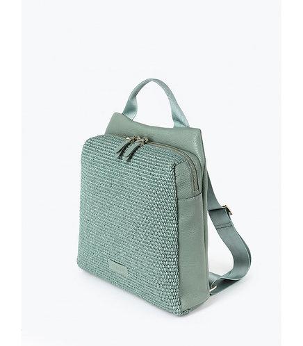 Рюкзак из мятно-зеленой кожи и плетеной соломки рафии KELLEN
