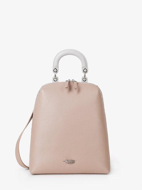 Пастельно-розовый рюкзак из плотной мелкозернистой кожи с серой ручкой KELLEN