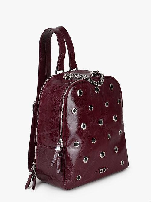 Бордовый повседневный кожаный рюкзак с люверсами KELLEN