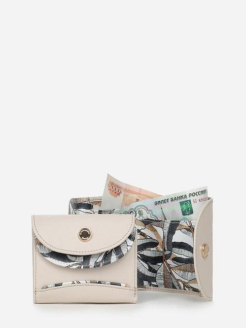 Мини-кошелек из светло-бежевой кожи и принтом Alessandro Beato