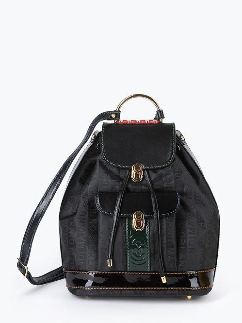 Черный рюкзак из текстиля и кожи с логотипами Marino Orlandi