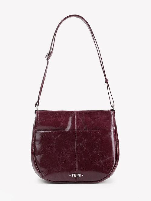 Бордовая сумка через плечо из кожи с прожилками KELLEN