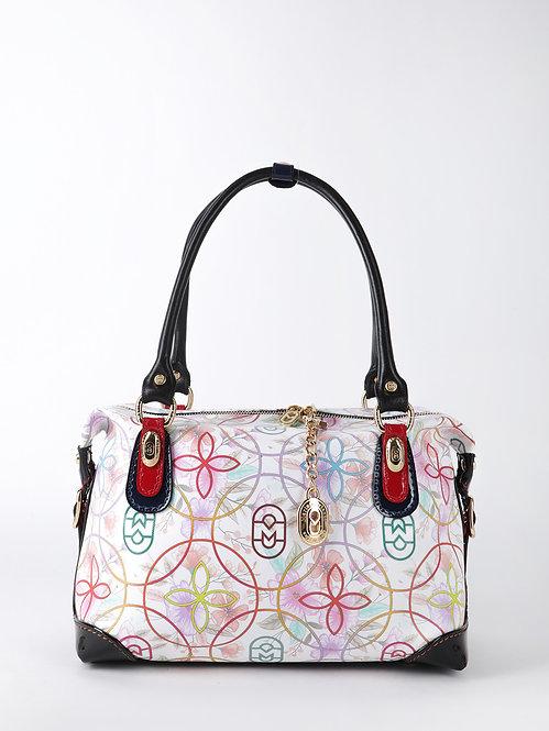 Белая сумка-боулер из плотной сафьяновой кожи с цветочным принтом Marino Orlandi