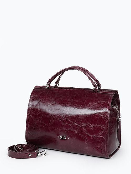 Бордовая сумка-тоут из мягкой кожи с прожилками KELLEN