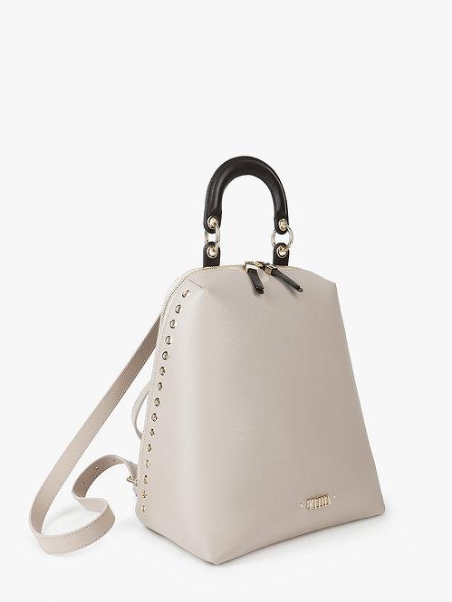 Серо-бежевый рюкзак из кожи с декоративными люверсами KELLEN