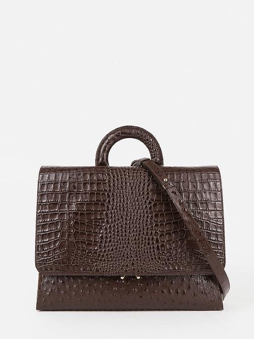 Коричневая деловая сумка-потрфель из кожи под страуса и крокодила KELLEN