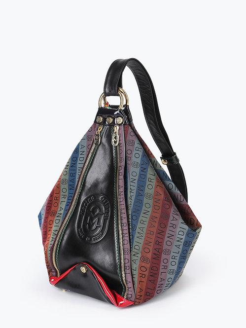 Разноцветная сумка-трансформер из текстиля и кожи Marino Orlandi
