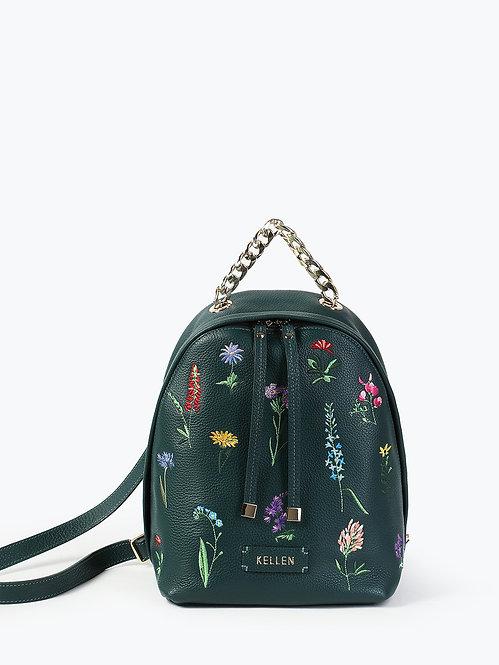 Кожаный рюкзак темно-зеленого цвета с цветочной вышивкой KELLEN