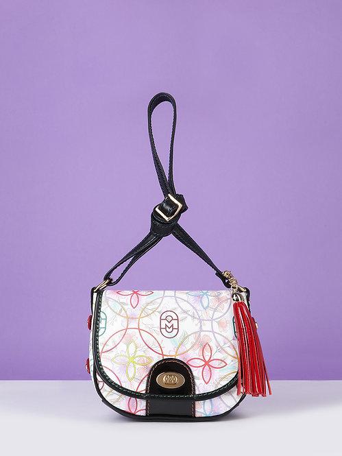 Белая сумочка кросс-боди из кожи с цветочным принтом Marino Orlandi