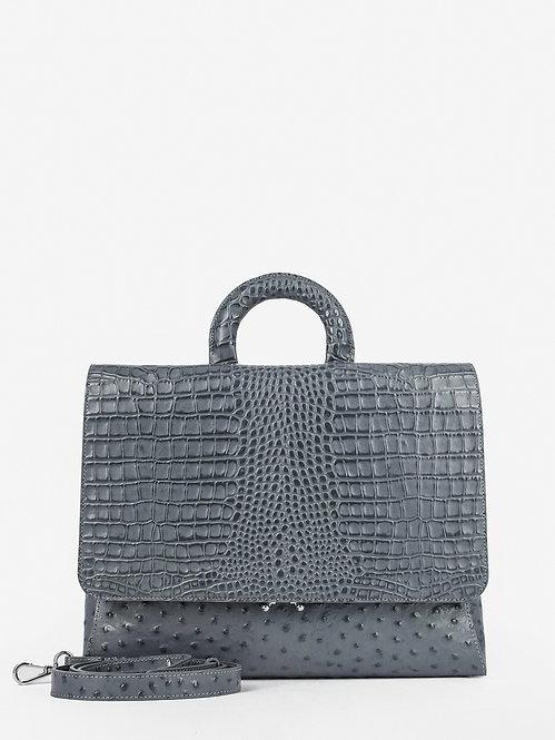 Серая деловая сумка-потрфель из кожи под страуса и крокодила KELLEN