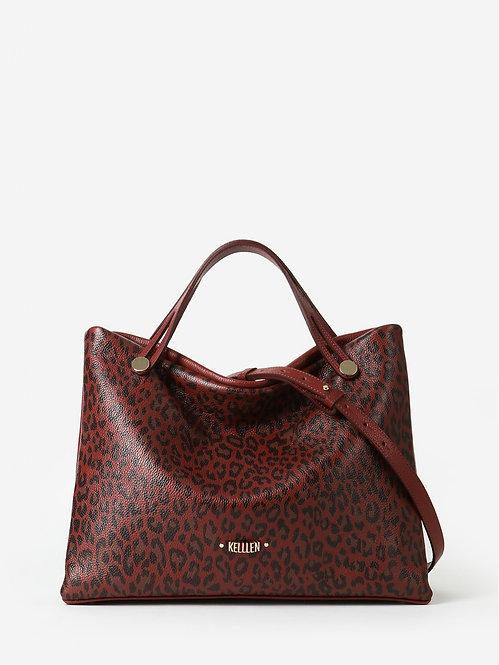 Терракотовая сумка-тоут из мягкой кожи с леопардовым принтом KELLEN