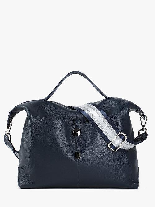 Вместительная мягкая сумка из синей кожи KELLEN