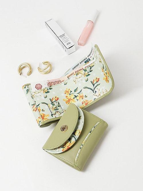 Мини-кошелек из светло-зеленой кожи и принтом Alessandro Beato