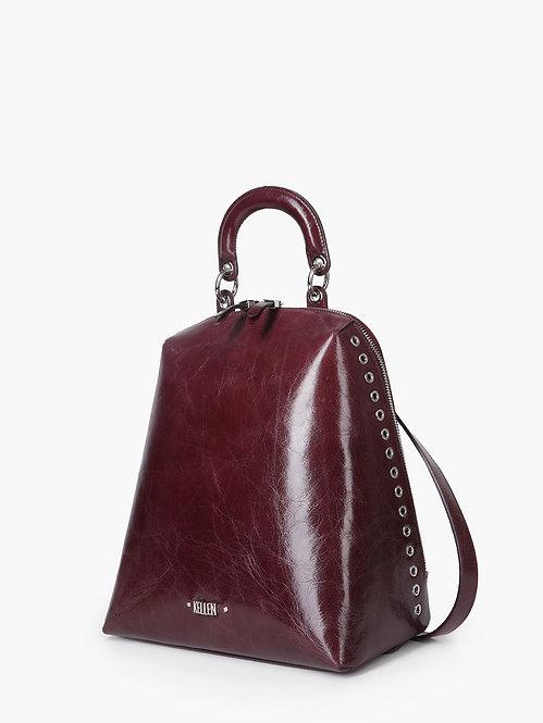Бордовый рюкзак из гладкой жилистой кожи с ручкой KELLEN