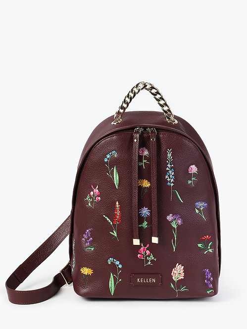 Рюкзак из бордовой кожи с цветочной вышивкой KELLEN