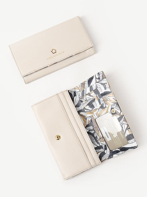 Светло-бежевый кожаный бумажник на кнопке Alessandro Beato