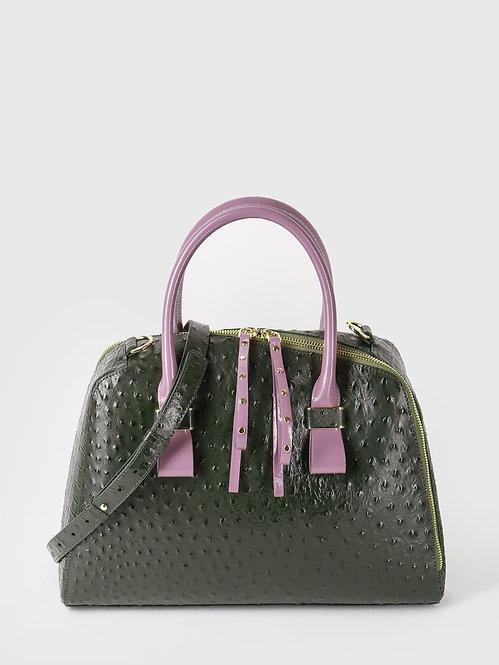 Зеленая сумка-тоут из кожи под страуса и крокодила с лавандовыми ручками KELLEN
