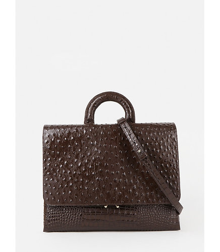 Деловая сумка-портфель из коричневой кожи под крокодила и страуса KELLEN