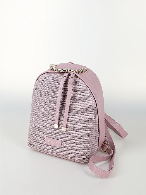 Небольшой рюкзак из мягкой светло-розовой кожи и плетеной соломки рафии KELLEN