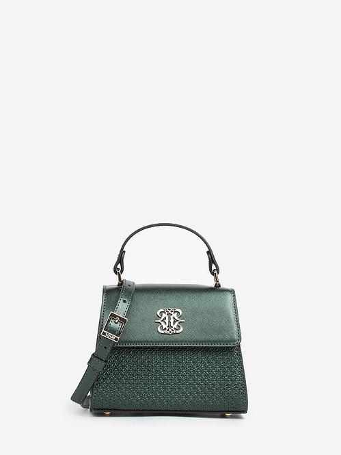 Темно-зеленая сумочка сэтчел из металлизированной кожи с тиснением Ripani