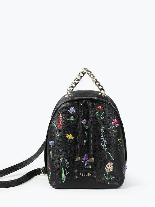 Кожаный рюкзак черного цвета с цветочной вышивкой KELLEN