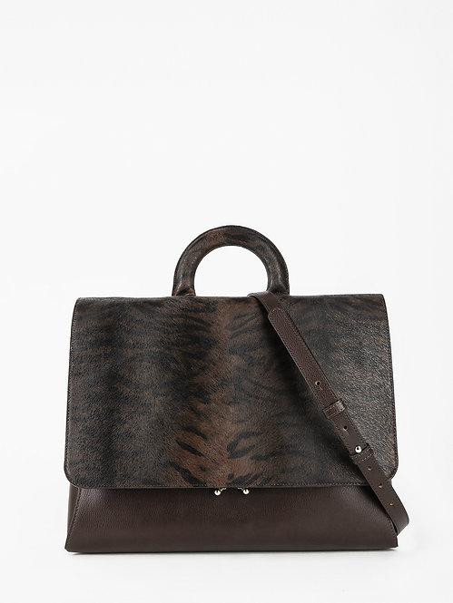 Деловая сумка-портфель из темно-коричневом кожи с тигровым принтом KELLEN