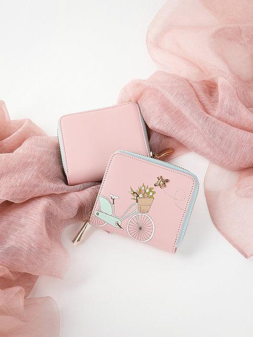 Небольшой кошелек на молнии из пастельно-розовой кожи с принтом Alessandro Beato