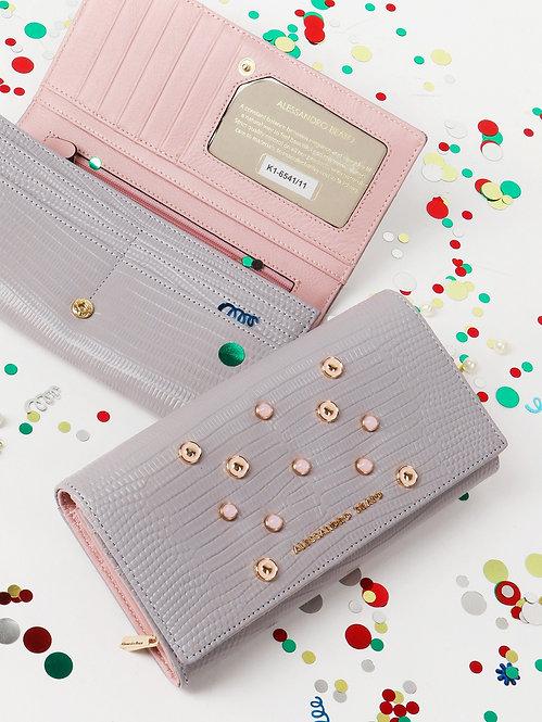 Бумажник из лавандовой кожи с искусственным жемчугом Alessandro Beato