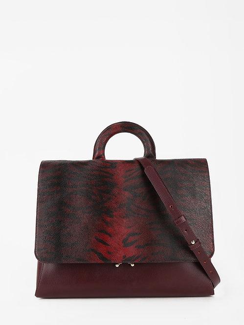 Деловая сумка-портфель из бордовой кожи и клапаном с тигровым принтом KELLEN