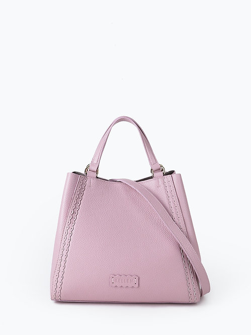 Пудрово-розовый шоппер-трансформер из мягкой кожи KELLEN