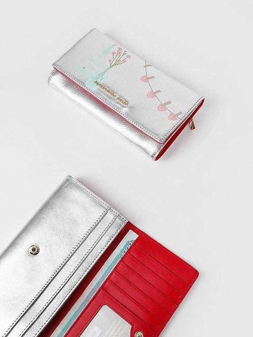 Серебристый кожаный бумажник с принтом на кнопке Alessandro Beato