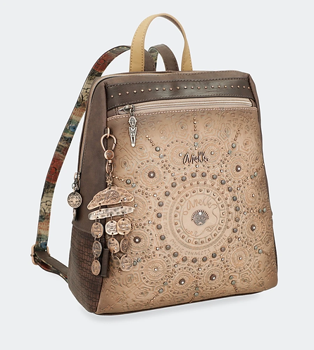 Рюкзак трапецевидной формы с тиснением в бежевых тонах Anekke Ixchel