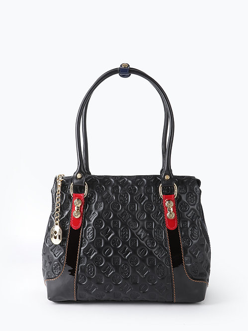 Черная сумка-тоут из кожи с брендовым тиснением  Marino Orlandi