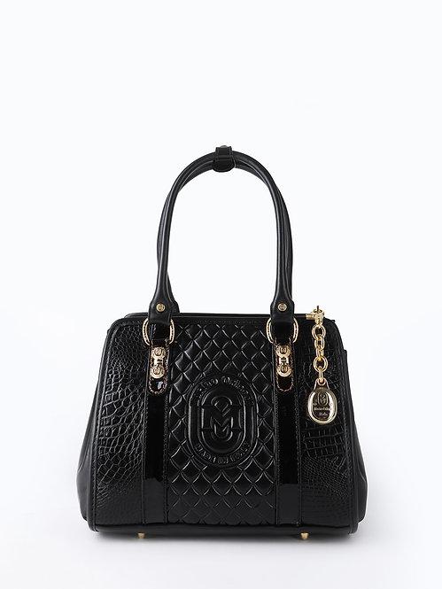 Черная сумка-тоут из кожи под крокодила с фирменным тиснением Marino Orlandi