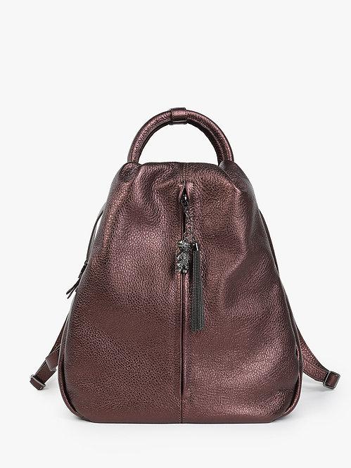 Бордовый рюкзак-капля из мягкой металлизированной кожи KELLEN