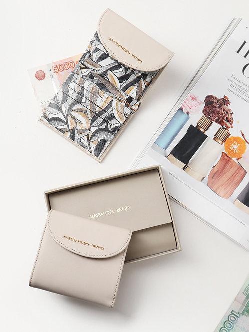 Маленький светло-бежевый кожаный бумажник-конверт с  принтом Alessandro Beato