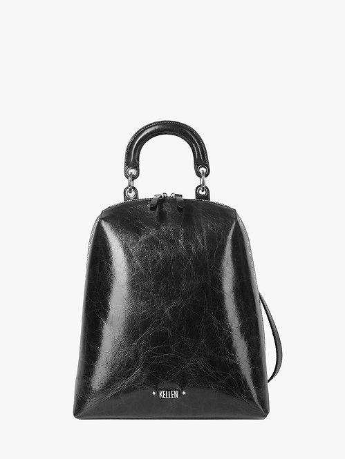 Черный рюкзак из гладкой жилистой кожи с ручкой KELLEN